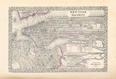 New York, United States, Mitchell Map Of New York City