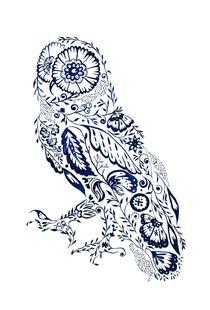 Folk Floral Owl