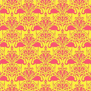 Flamingo Damask - yellow