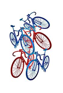 Red and blue bicycles