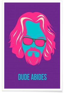 Dude Abides Purple Poster