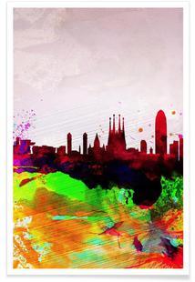 Barcelona Watercolor Skyline
