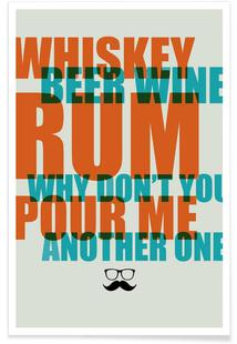Whiskey, Beer and Wine Poster