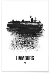 Hamburg Skyline Brush Stroke
