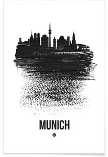 Munich Skyline Brush Stroke