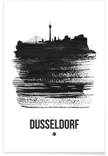 Dusseldorf Skyline Brush Stroke