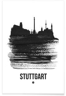 Stuttgart Skyline Brush Stroke