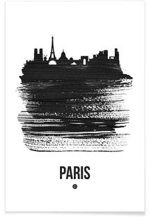 Paris Skyline Brush Stroke