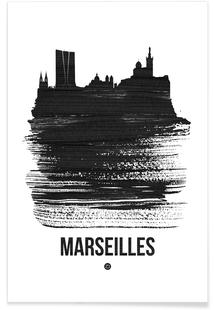 Marseilles Skyline Brush Stroke