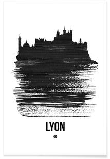Lyon Skyline Brush Stroke