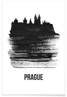 Prague Skyline Brush Stroke