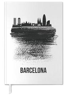 Barcelona Skyline Brush Stroke