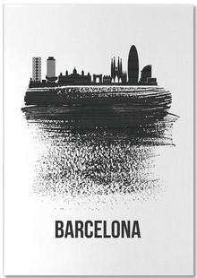 Barcelona Skyline Brush Stroke
