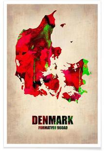 Denmark Watercolor Map
