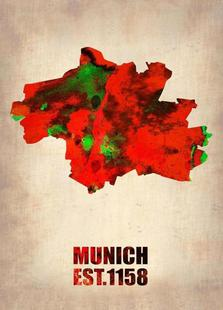 Munich Watercolor Map