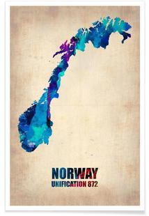 Norway Watercolor Map