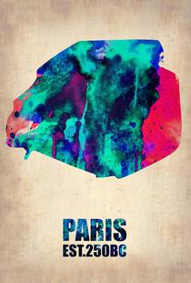 Paris Watercolor Map