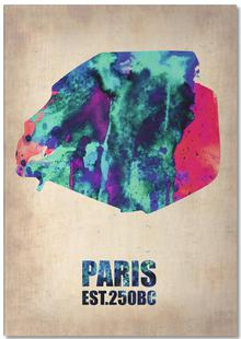Paris Watercolor Map