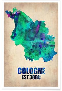 Cologne Watercolor Map