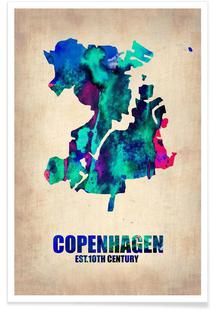 Copenhagen Watercolor Map