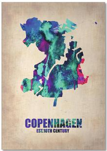 Copenhagen Watercolor Map