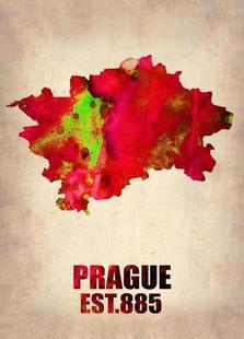 Prague Watercolor Map