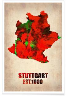 Stuttgart Watercolor Map