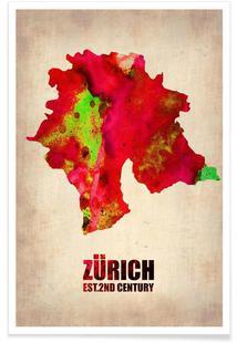 Zurich Watercolor Map
