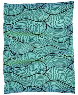 Sea Waves Pattern Fleece Blanket