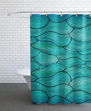 Sea Waves Pattern Shower Curtain