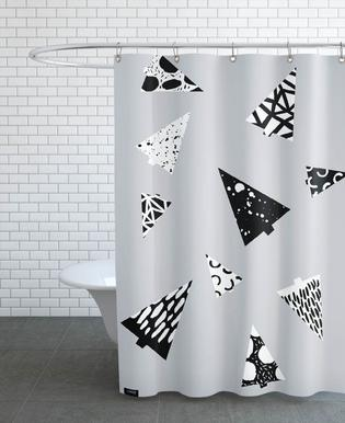 Christmas Trees Black & White Shower Curtain