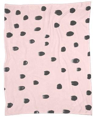 Dots On Pink Fleece Blanket