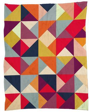 Bright Geometric Happy Pattern Fleecefilt