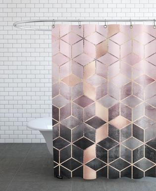 Pink Grey Gradient Cubes Shower Curtain