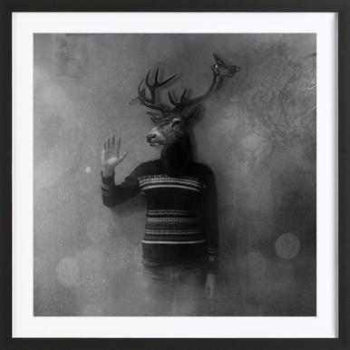 Animals in my room - Deer affiche sous cadre en bois