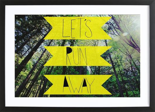 Let's Run Away - to the forest -Bild mit Holzrahmen