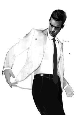 Man in white suit Impression sur alu-Dibond