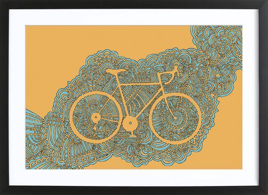 Bike affiche sous cadre en bois