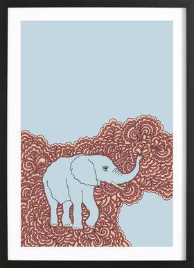 Elephant Blue affiche sous cadre en bois