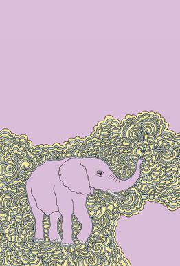 Elephant Purple tableau en verre
