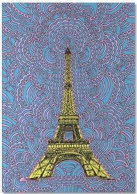 Eiffel Tower Drawing Meditation Yellow Notebook