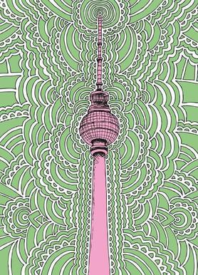 Fernsehturm Drawing Meditation (green) -Leinwandbild
