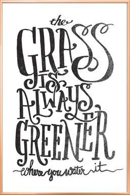 the grass is always greener poster in aluminium lijst