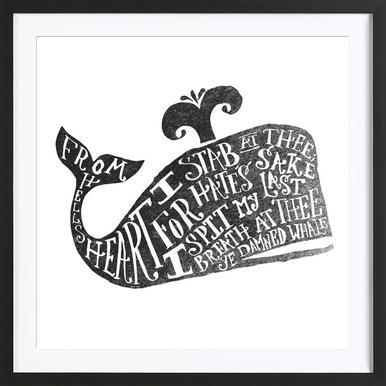 ye damned whale -Bild mit Holzrahmen