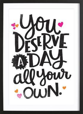 A Day Your Own affiche sous cadre en bois