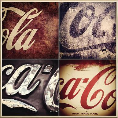 4 Cokes Poster Poster in Aluminium Frame