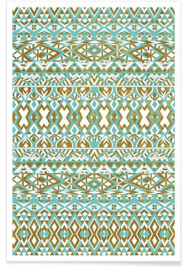 Mint And Gold Tribal Beach Poster