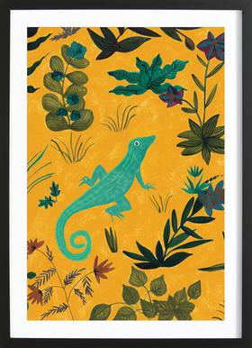 Lizard -Bild mit Holzrahmen