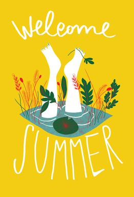 Welcome Summer tableau en verre