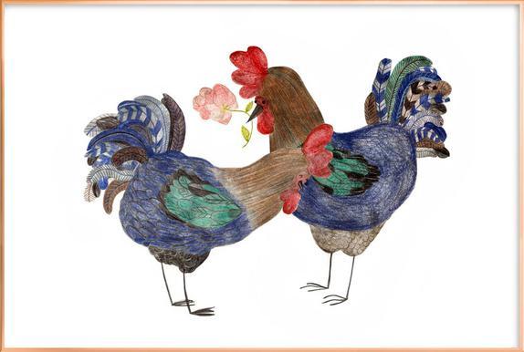 Roosters in Love poster in aluminium lijst